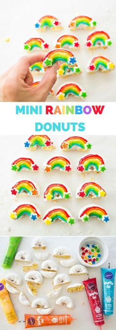 Easy Mini Rainbow Donuts. Fun and colorful rainbow treat for kids. Great for St. Patrick's Day, rainbow parties or a cute mini dessert or snack!
