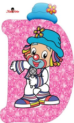 EUGENIA - KATIA ARTES - BLOG DE LETRAS PERSONALIZADAS E ALGUMAS COISINHAS: Alfabeto Patati e Patata Rosa Circus Clown, Circus Theme, Circus Party, Clown Party, School Frame, Send In The Clowns, Picture Letters, Clowning Around, Smurfs