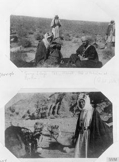 Top photo, from left to right: T E Lawrence, Ahmed and Abd el Rahman at Batra. Bottom photo: T E Lawrence and camels in Wadi Itm. Arab Revolt, Gertrude Bell, Lawrence Of Arabia, In His Time, Wit And Wisdom, Old Photography, Life Is An Adventure, World War I, Top Photo