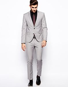 ASOS Stone Slim Fit Suit Jacket In Poplin (£60) (£30 Trousers ...