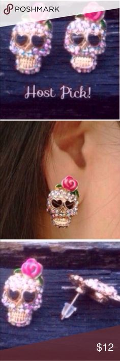 (A3) Skull Studs Cute and sparkly earrings. New in package. Jewelry Earrings