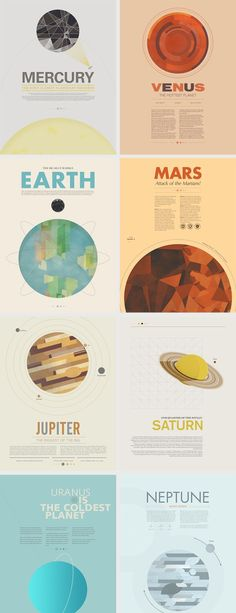 Beyond Earth by Stephen Di Donato - I love the colors going along with the main colors of the planets themselves, as well as how it coordinates with the background and words of each picture. #infographics