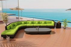 www.customwickerfurniture.com Round Nouveau de Soleil Java Wicker Viro Fiber Sectional Sofa Outdoor Patio Furniture set 1