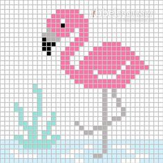 Pixelmuster - Flamingo im Wasser - Cross Stitch Art, Simple Cross Stitch, Cross Stitch Borders, Cross Stitch Animals, Cross Stitch Designs, Cross Stitching, Cross Stitch Embroidery, Cross Stitch Patterns, Tapestry Crochet Patterns