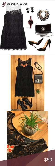 """🌚Armani Exchange ⚡️Lace mini LBD Like new! Originally 160$. Delicate eyelash Lace softens the scalloped edges of this silky sheath that's romantic and sophisticated at once making this the perfect piece for any occasion. 8"""" arm opening. 14"""" bust. 12"""" waist flat, 16"""" long from the waist down. Hits mid thigh level. Feel free to ask any questions! Bundles for  30% off and an even greater deal! A/X Armani Exchange Dresses Mini"""