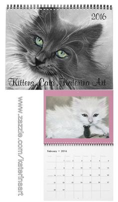 My very first all kittens cats calendar is now available on my zazzle store www.zazzle.com/cats_kittens_20… cover of calendar my kitty Magic ( Loki) and previewed month for February is one o...