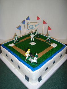 - This is a 12x12 butter/yellow cake with buttercream icing. The baseball diamond is fondant everything else is buttercream. Got a lot of ideas from this website, thanks for all the inspiration CC.