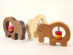Wooden Elephant Rattle - Organic Baby Toy Rattle by Bannor Toys. $14,00, via Etsy.