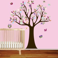 Vinyl Wall Decal Stickers Owl Tree Set Nursery Girls Baby Extra birds and owls. $140.00, via Etsy.