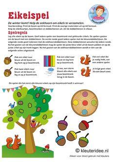 Eikelspel voor kleuters, thema herfst,  spelregels, by juf Petra van kleuteridee, free printable.