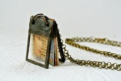 Glass Journal Tiny Journal Book Charm Book Necklace by Mystarrrs