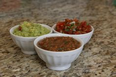 guacamole and two salsas by The Home Cook, via Flickr