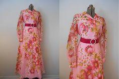 Vintage 1960s Dress - Large 60s Maxi Dress in Bright Pink Floral, Vintage 1960s Prom Dress