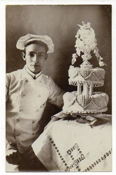WEDDING CAKE pastry chef amazing old real photo postcard cook in uniform 1.00 no reserve from oldglory on Mynotera Auction