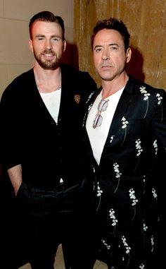 Robert Downey Jr. & Chris Evans. ROBERT WHAT ARE YOU WEARING