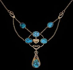 This is not contemporary - image from a gallery of vintage and/or antique objects. MURRLE BENNETT & Co. (1896-1914)  A gold necklace set turquoise, punctuated with entrelac motifs, and centred with heart shaped gold drop.