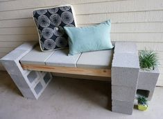 diy cinder block bench A Front Porch Makeover Featuring A Cinder Block Bench interior design Cinder Block Furniture, Cinder Block Bench, Cinder Block Garden, Cinder Blocks, Cement Bench, Concrete Patios, Concrete Blocks, Front Porch Makeover, Patio Makeover