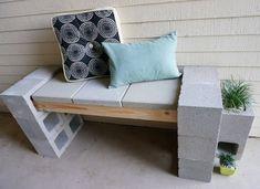 diy cinder block bench A Front Porch Makeover Featuring A Cinder Block Bench interior design Cinder Block Furniture, Cinder Block Bench, Cinder Block Garden, Cinder Blocks, Front Porch Makeover, Patio Makeover, Concrete Blocks, Concrete Patio, Outdoor Buffet