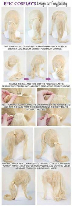 Restyle a ponytail wig.