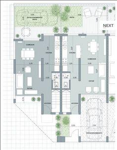 Narrow House Designs, Narrow House Plans, Apartment Floor Plans, Apartment Projects, House Layout Plans, House Layouts, House Plans Mansion, House Floor Plans, Duplex Design