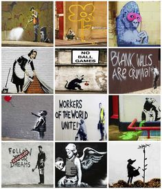Banksy 12 Print Collage  Poster 16x20 by davidsphotography on Etsy, $19.95