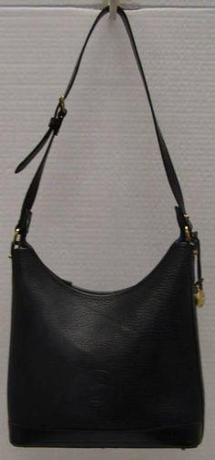 Vintage Dooney Bourke All Weather Pebbled Leather Hobo Black Handbag Bag