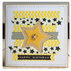 handmade birthday card ... star theme ... strips of torn end washi tape serve as the top panel ... negative space star focal point ...