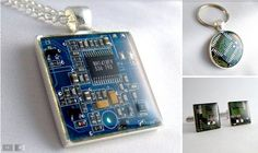 "Techcycled, Jewelry & Accessories Made Computer & Electronic Parts The ""engineers-turned-artists"" at Techcycled make jewelry and accessories from recycled computer parts and electronic components like resistors, capacitors, and circuit boards. Recycled Jewelry, Resin Jewelry, Jewelry Crafts, Jewelry Logo, Resin Necklace, Swarovski Jewelry, Gems Jewelry, Jewelry Branding, Stone Jewelry"