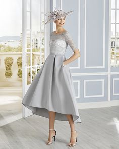 Beautiful mother of the bride dresses from Nigel Rayment Boutique. Rosa Clara, - Couture Club - Dipped hem dress with lace bodice Mother Of Bride Outfits, Mother Of The Bride, Mothers Dresses, Event Dresses, Nice Dresses, Silver Dress, Lace Sleeves, Lace Bodice, Groom Dress