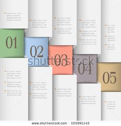 Paper numbered banners in pastel colors. Creative design template by A-R-T, via ShutterStock