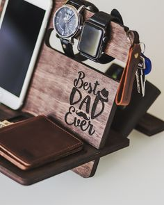 Wood Docking Station Charging Fathers Day Gift From Daughter To Daddy From Wife Birthday Son For Father Husband Gift Anniversary Gift Charging Station Organizer, Docking Station, Wooden Organizer, Wife Birthday, Electronic Items, Anniversary Gifts For Husband, Monogram Design, Wood Pieces, Best Dad