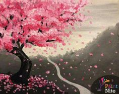 Japanese Cherry Blossom pink and gray