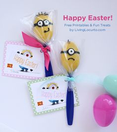 Despicable Me 2 Minion Candy Spoons with Free Printable Easter tags! LivingLocurto.com