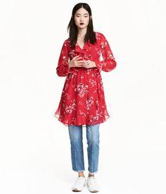 Slå om-kjole   Rød/Blomstret   Dame   H&M DK