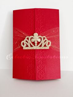 Invitation Cover: Red gatefold with hand embossed edges Cardstock: red cardstock Belly band: glittered gold Wording color: black Invitation Size: x folded Envelope color: White Quince Invitations, Princess Invitations, Handmade Invitations, Sweet 16 Invitations, Quinceanera Invitations, Elegant Invitations, Birthday Party Invitations, Birthday Wishes For Teacher, Birthday Gifts For Girlfriend