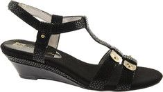 Anne Klein Narelle - Black Reptile with FREE Shipping & Returns. Narelle is a stunning banded wedge sandal embellished with metallic