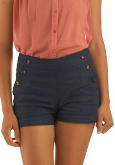 Pass the Navy Down Shorts, #ModCloth ~ I love high waisted shorts!!!