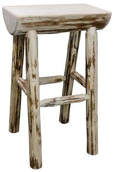 Montana Woodworks Collection Half Log Wood Barstool