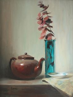 """Time for Tea 18""""x14"""" Oil on Panel Available at The Howell Gallery"""