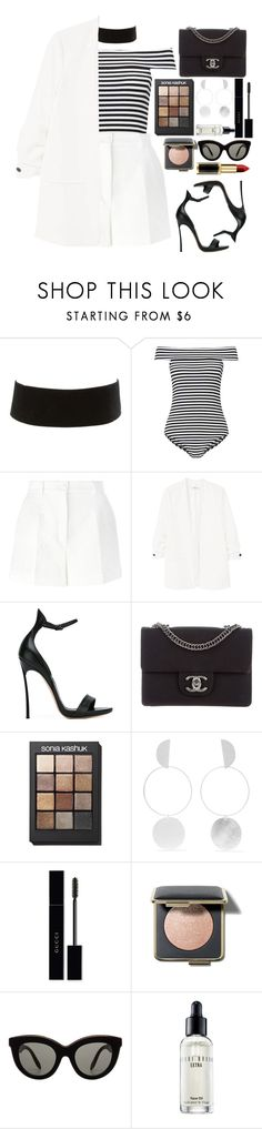 """""""🗨"""" by fashioneex ❤ liked on Polyvore featuring Charlotte Russe, Miss Selfridge, Dolce&Gabbana, MANGO, Casadei, Chanel, Sonia Kashuk, Annie Costello Brown, Gucci and Victoria Beckham"""
