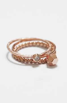 Holiday gemstone rose gold rings