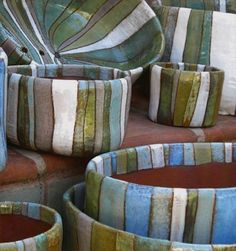 Esther pots by Steve Siegrist and his wife, sculptor Renée Lotenero.