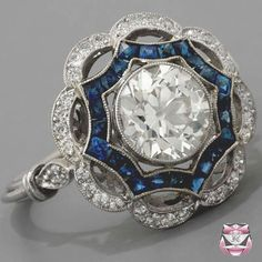 Art Deco style platinum sapphire and diamond ring