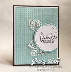 by Jenny: All Things Thanks, Tasty Treats dsp, Stylish Stems Framelits dies, Layering Circles and Stitched Shapes dies - all from Stampin' Up!