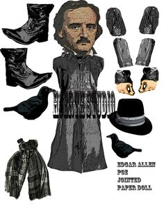 Edgar Allen Poe jointed Paper doll Macabre sheet Printable Paper creation DIY paper doll cut out Paper Puppets, Paper Toys, Edgar Allan Poe, Allen Poe, Paper Dolls Printable, Paper People, Vintage Paper Dolls, Antique Dolls, Fabric Dolls