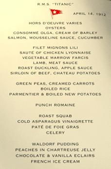 This is the menu of the last meal that was served to first-class passengers on the Titanic before it sank almost 100 years ago.