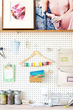 Stunning Work Studio In Vancouver (from Decor 8) storing ribbon on a hanger.  Good idea!