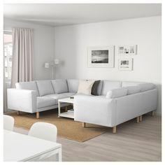 IKEA - NORSBORG 8-seat sofa, U-shaped Finnsta white, birch Ikea Norsborg, Ikea Sofa, Couch, Bedroom, Furniture, Home Decor, Decorating Ideas, Doors, Settee
