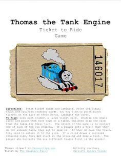 Carrie's Speech Corner:  Thomas the Tank Engine, Ticket to Ride Game.  Free Download