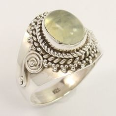 Vintage Designer Ring Size US 5.75 Natural PREHNITE Gemstone 925 Sterling Silver…
